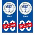 Miami USA ville Autocollant plaque immatriculation auto sticker numéro au choix sticker city