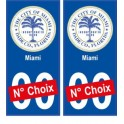 Miami USA ville Autocollant plaque immatriculation auto sticker numéro au choix sticker city