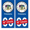Philadelphie USA ville Autocollant plaque immatriculation auto sticker numéro au choix sticker city