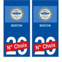 Boston USA ville Autocollant plaque immatriculation auto sticker numéro au choix sticker city