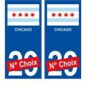 Chicago USA ville Autocollant plaque immatriculation auto sticker numéro au choix sticker city