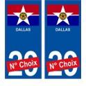 Dallas USA ville Autocollant plaque immatriculation auto sticker numéro au choix sticker city