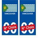 Vancouver Canada ville Autocollant plaque immatriculation auto sticker numéro au choix sticker city
