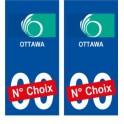Ottawa Canada ville Autocollant plaque immatriculation auto sticker numéro au choix sticker city