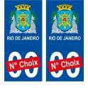 Rio de Janeiro Brésil ville Autocollant plaque immatriculation auto sticker numéro au choix sticker city
