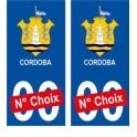 Cordoba Argentine ville Autocollant plaque immatriculation auto sticker numéro au choix sticker city
