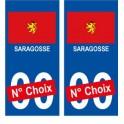 Saragosse ville sticker numéro au choix autocollant drapeau Espagne city