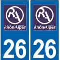 26 Drôme autocollant plaque
