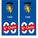 Turin ville sticker numéro au choix autocollant blason Italie city