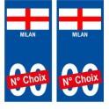 Milan ville sticker numéro au choix autocollant blason Italie city Milano
