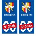 Birmingham ville sticker numéro au choix autocollant blason UK angleterre city