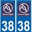 38 Isère autocollant plaque