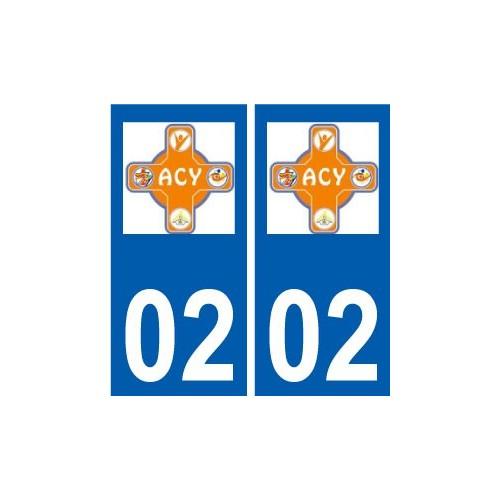 02 Acy logo ville autocollant plaque sticker arrondis