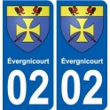02 évergnicourt ville autocollant plaque sticker