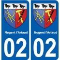 02 Nogent-l'Artaud ville autocollant plaque sticker