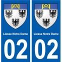 02 Liesse-Notre-Dame ville autocollant plaque sticker