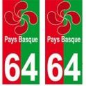 64 Lauburu croix pays basque autocollant plaque