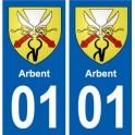 01 Arbent ville autocollant plaque sticker
