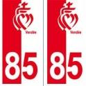 85 coeur Vendée autocollant plaque