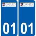 01 Ornex logo ville autocollant plaque sticker