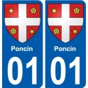 01 Poncin city sticker, plate sticker