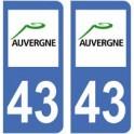 43 Haute Loire autocollant plaque