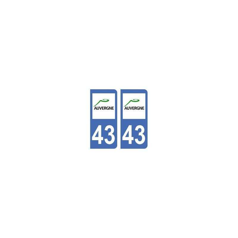 43 haute loire autocollant plaque immatriculation for Haute loire 43
