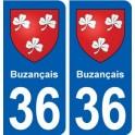 36 Buzançais autocollant plaque stickers ville