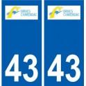 43 Brives-Charensac logo autocollant plaque immatriculation ville
