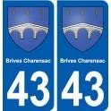 43 Brives-Charensac autocollant plaque immatriculation ville