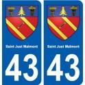 43 Saint-Just-Malmont autocollant plaque immatriculation ville