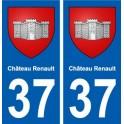 37 Château-Renault ville autocollant plaque stickers