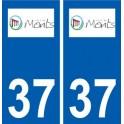 37 Mountains logo city sticker, plate sticker