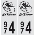 974 blason La Réunion autocollant plaque