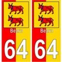 64 Bearn fond rouge jaune autocollant plaque