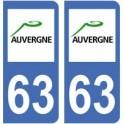 63 Puy de Dôme autocollant plaque