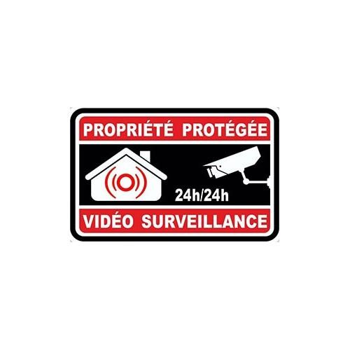 Autocollant Alarme propriété sous vidéo surveillance alarme logo 64 sticker