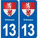 13 Gréasque blason ville autocollant plaque sticker