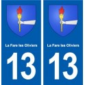13 La Fare-les-Oliviers blason ville autocollant plaque sticker