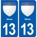 13 Sénas coat of arms, city sticker, plate sticker