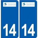 14 Courseulles-sur-Merblason ville autocollant plaque sticker