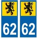 62 Flandres autocollant plaque