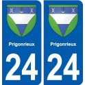 24 Prigonrieuxblason autocollant plaque stickers département