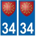 34 Hérault Occitan autocollant plaque