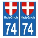 Sticker sticker 74 Haute-Savoie plate motorcycle sticker bike format