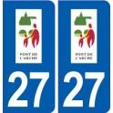 27 Pont de l'Arche logo autocollant plaque stickers ville
