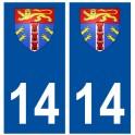 Autocollant plaque immatriculation 14 Calvados Deauville blason stickers