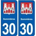 30 Sommières blason ville autocollant plaque stickers