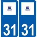 31 Aussonne logo ville autocollant plaque stickers