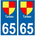 65 Tarbes ville autocollant plaque